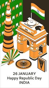 26 stycznia dzień republiki indii. kartka okolicznościowa w stylu izometrycznym z indian gates.
