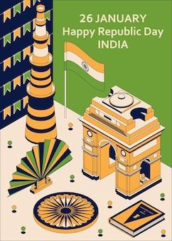 26 stycznia dzień republiki indii. kartka okolicznościowa w stylu izometrycznym z indian gates