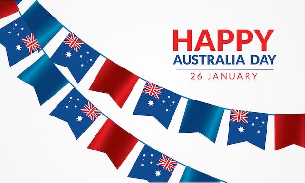 26 stycznia szczęśliwy dzień australii z flagą i biały tło wektor
