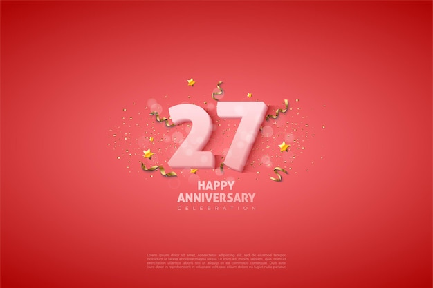 27 rocznica tło z miękkimi białymi cyframi.