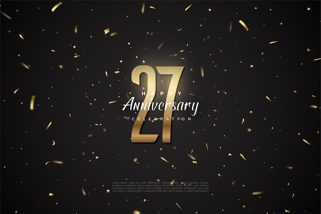 27 rocznica tło złote cyfry i plamy.