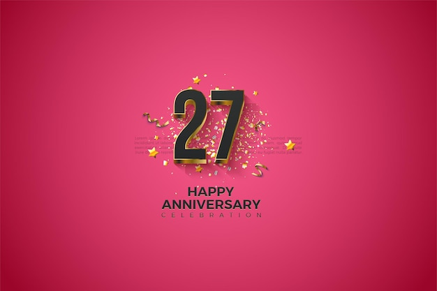 27 rocznica z cyframi pokrytymi złotem.