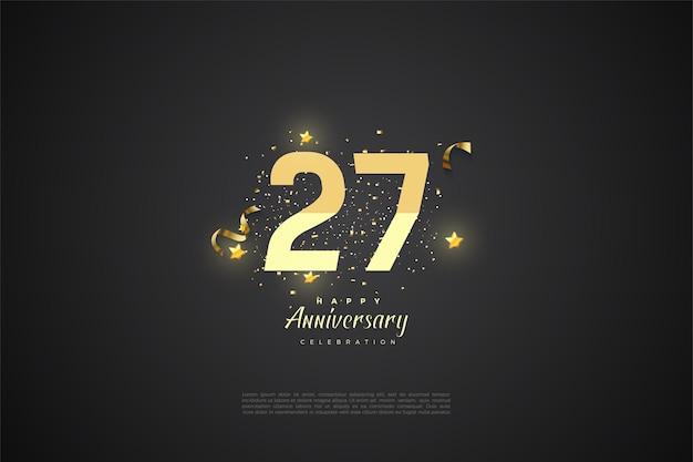 27 rocznica z ilustracją stopniowanych liczb.