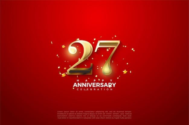 27 rocznica z złote cyfry ilustracji na jasnym czerwonym tle.