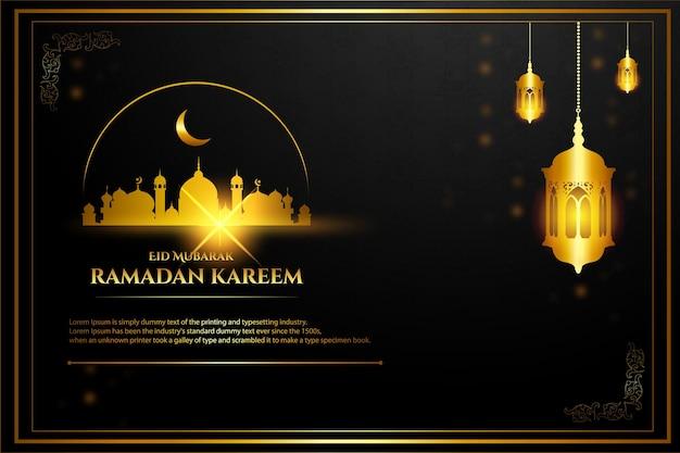 27luksusowy ramadan mubarak złoty meczet kolor tła niebieski granatowy i złoty