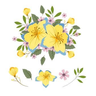 2d bukiet kwiatów zestaw ilustracji