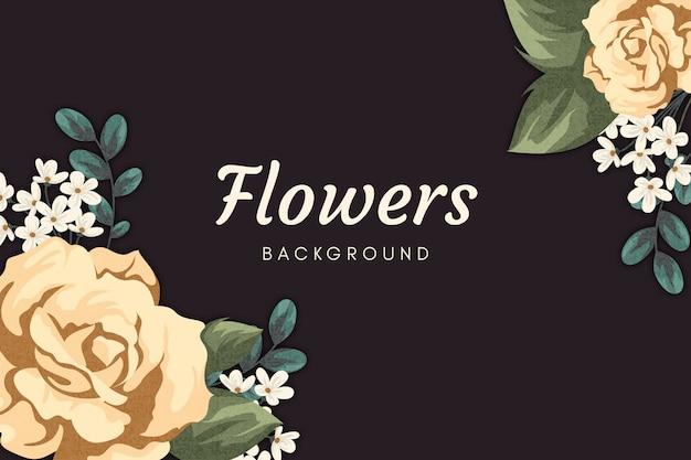 2d tapeta w stylu vintage kwiaty