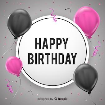2d urodziny z tłem balonów