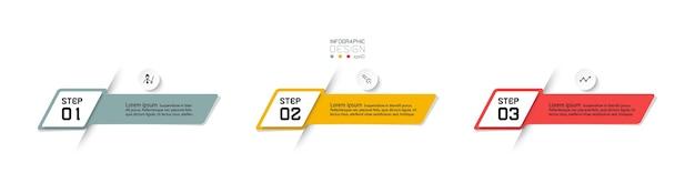 3 kroki nowoczesny projekt infografiki