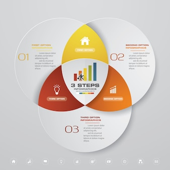 3 kroki przetwarzają element infografiki do prezentacji.