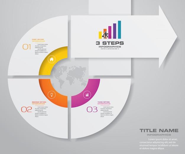 3 kroki szablon wykresu strzałkowego elementu infografiki.