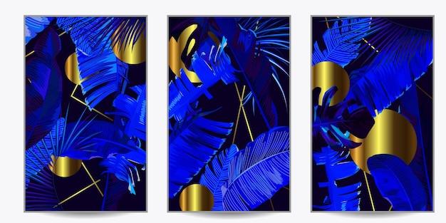 3 plakaty do wnętrz z niebieskimi liśćmi bananowca i złotymi geometrycznymi kształtami