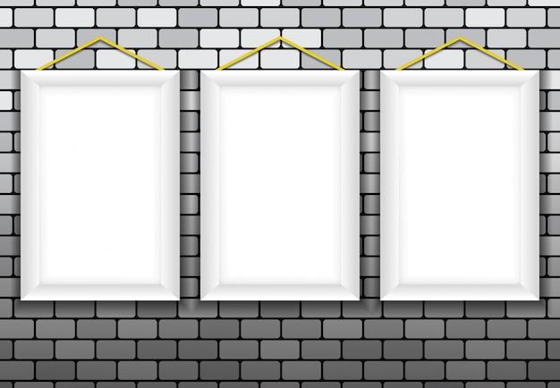 3. ramka pusta, ściana z cegły tła 3d