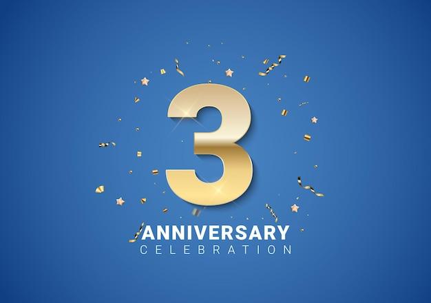 3 rocznica tło ze złotymi cyframi, konfetti, gwiazdy na jasnym niebieskim tle. ilustracja wektorowa eps10