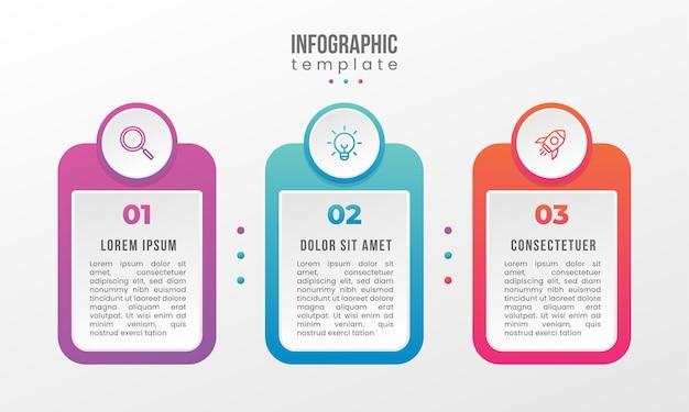3-stopniowy szablon infografiki