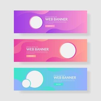 3 ustaw kolorowy pastelowy baner z kształtem okręgu i płynnym kompozytem.