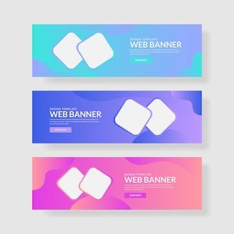 3 ustaw pastelowy baner kolorów interfejsu z kwadratowym kształtem i płynnym kompozytem