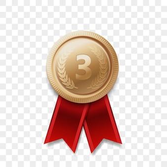 3 zdobywca brązowego medalu z wstążką realistyczna ikona na białym tle. numer jeden trzecie trzecie miejsce lub nagroda za najlepsze zwycięstwo zwycięzca brązowa złota błyszcząca odznaka medalu