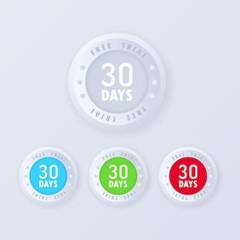 30-dniowy przycisk bezpłatnej wersji próbnej w stylu 3d. darmowe odznaki próbne, zestaw ikon.