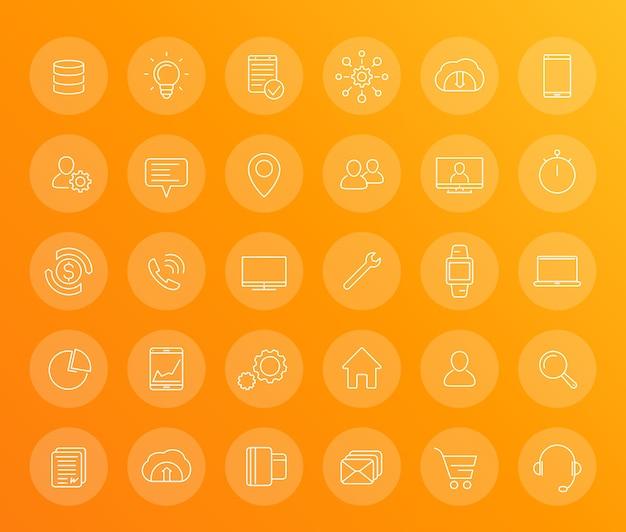 30 liniowych ikon biznesowych, handlowych