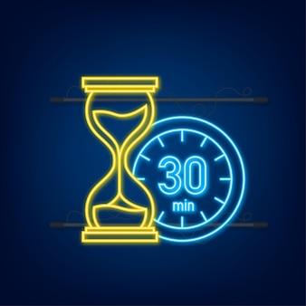 30 minut, ikona neon wektor stopera. ikona stopera w płaski, zegar na kolor tła. ilustracja wektorowa.