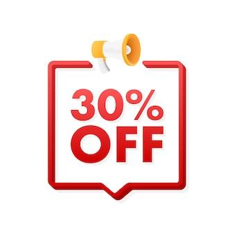 30 procent off wyprzedaż zniżka baner z megafonem zniżka z ceną oferty