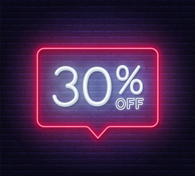 30% zniżki na neon na ścianie z cegły