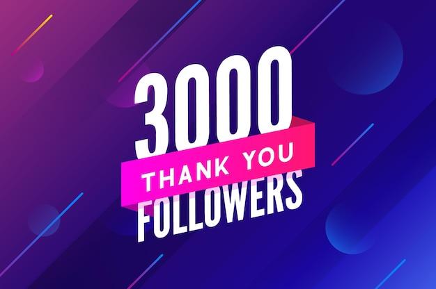 3000 obserwujących wektor powitanie karta społeczna dziękuję obserwującym