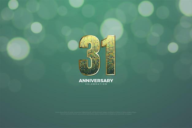 31. rocznica tło ze złotymi brokatowymi numerami