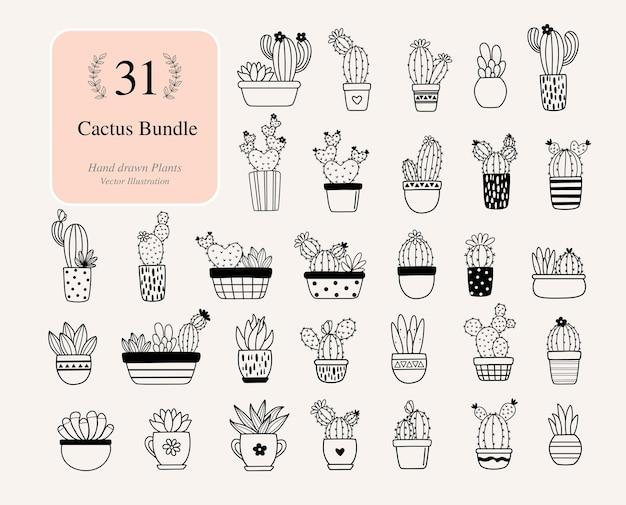 31 wiązek kaktusów. kaktus z kwiatami pliki do sylwetki. wektor zestaw jasnych kaktusów, aloesu i liści. kolekcja egzotycznych roślin dekoracyjne elementy naturalne