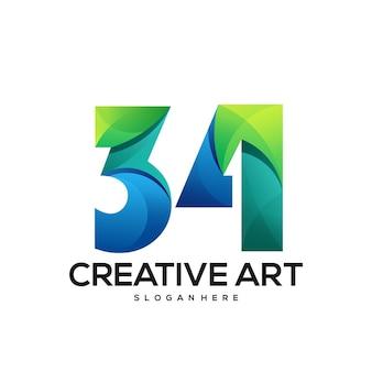 34 kolorowe logo z gradientem
