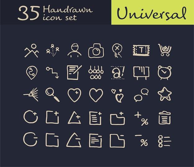 35 ręcznie rysowane ikony internetowej