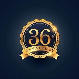 36-te rocznica obchody etykieta odznaka w złotym kolorze