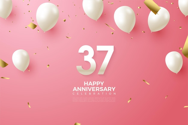 37. rocznica z białymi cyframi i balonami