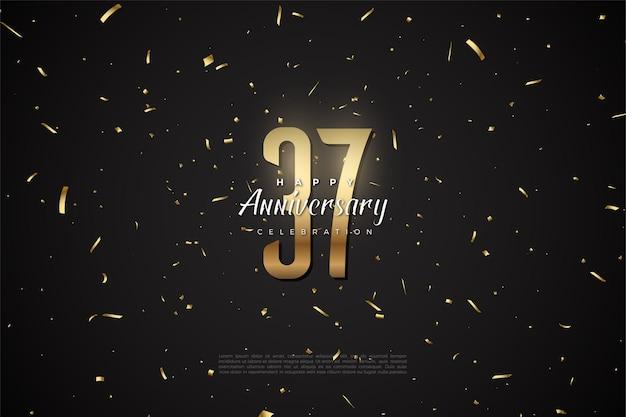 37 rocznica z cyframi i złotymi bitami