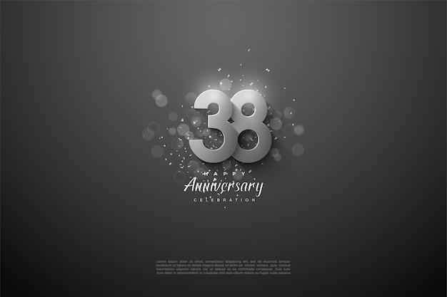 38. rocznica z nakładającą się srebrną ilustracją postaci