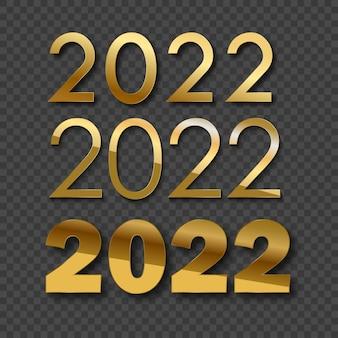 3d 2022 złote cyfry na kartkę z życzeniami. wektor.