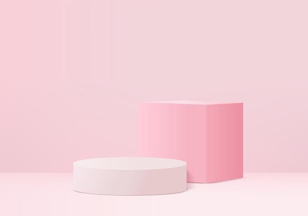 3d abstrakcyjna minimalna scena produktu z geometryczną platformą podium.
