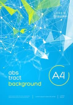 3d Abstrakcyjne Tło Siatki Z Okręgami, Liniami I Trójkątnymi Układami Projektu Dla Twojej Firmy. Ilustracja Premium Wektorów
