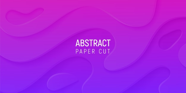 3d abstrakcyjne tło z fioletowym i różowym papierem wyciąć fale gradientu