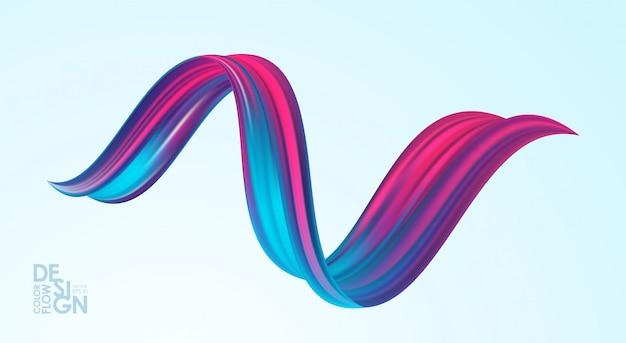 3d abstrakcyjny kształt skręcony kolorowy przepływ cieczy. farba akrylowa sroke. nowoczesny design