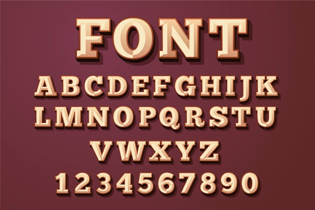 3d alfabet retro koncepcja