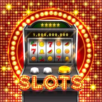 3d automaty do gier wygrywa jackpot, izolowany na świecącym tle lampy. ilustracja wektorowa