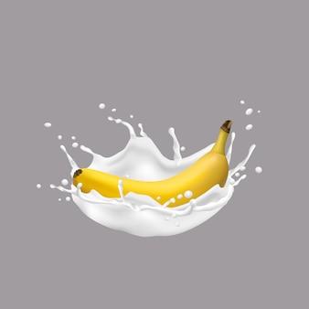 3d Banan I Mleko Splash Premium Wektorów