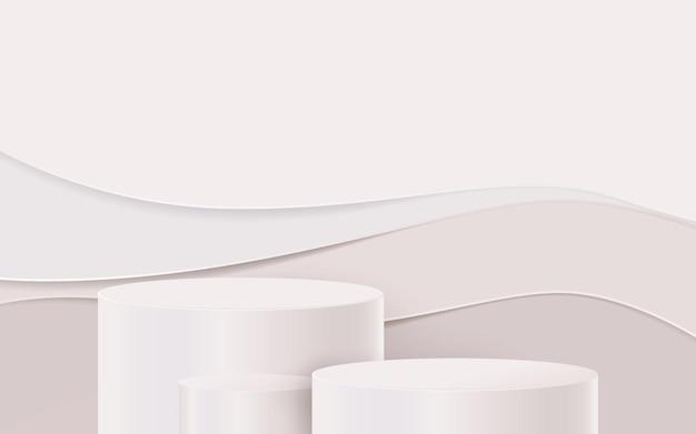 3d białe koło podium na falistym tle sztuki papieru.