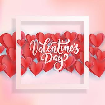 3d białe, różowe i czerwone serca z kwadratową ramką i napisem cytat.