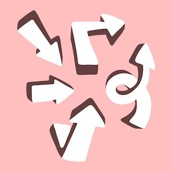 3d białe strzałki zestaw kolekcja symbol ikony na różowym tle płaskie wektor ilustracja