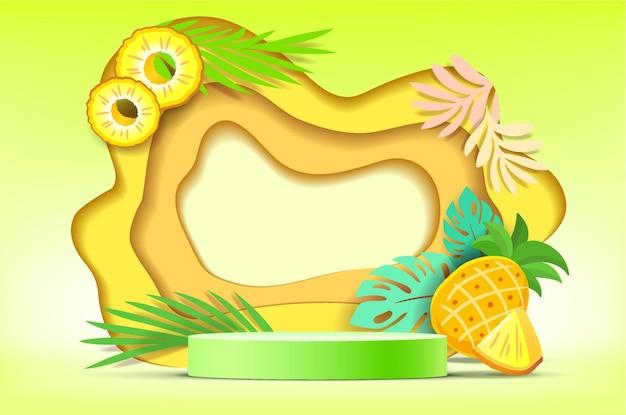 3d biały cylinder cokole podium z elementami ilustratora stylu cięcia papieru owoców na tle.