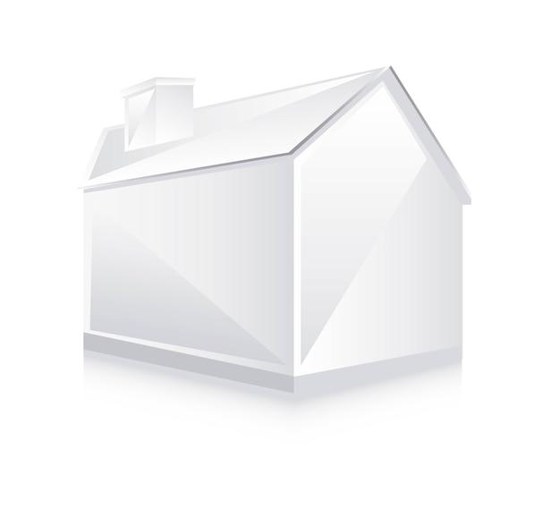3d biały dom, wektorowa ilustracja