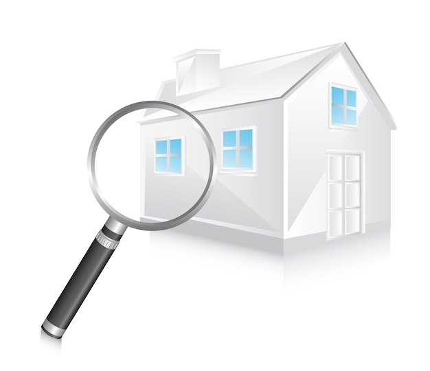 3d biały dom z powiększać - szklana wektorowa ilustracja